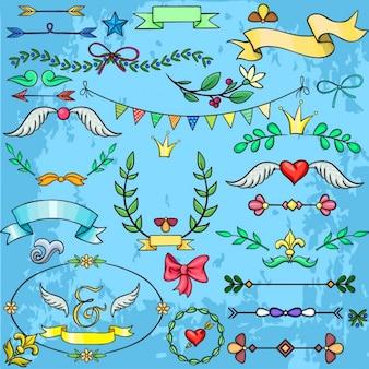 Collection d'éléments de conception de dessins animés pour les mariages invitations cartes postales