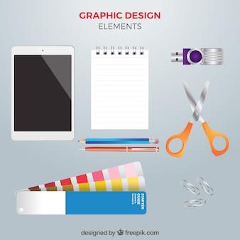 Collection d'éléments de conception graphique dans un style réaliste