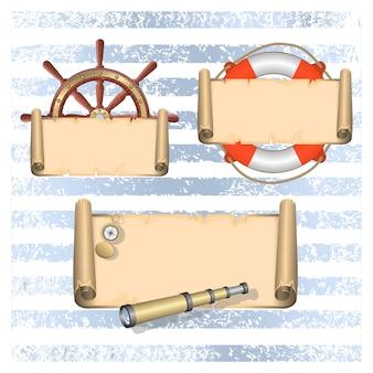 Collection d'éléments de conception nautique