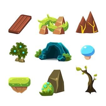 Collection d'éléments de conception de niveau de jeu flash