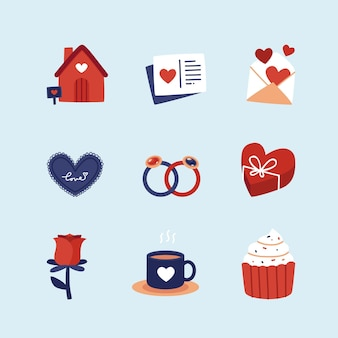 Collection d'éléments de conception plate pour la saint-valentin