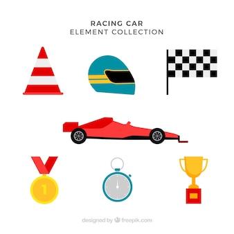 Collection d'éléments de course f1