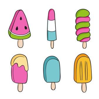 Collection d'éléments de crème glacée dans le style de dessin à la main