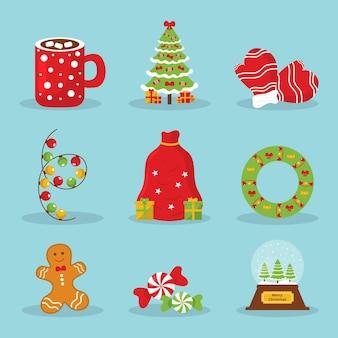 Collection d'éléments cristmas au design plat