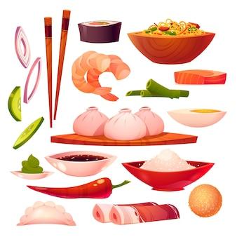 Collection d'éléments de cuisine chinoise