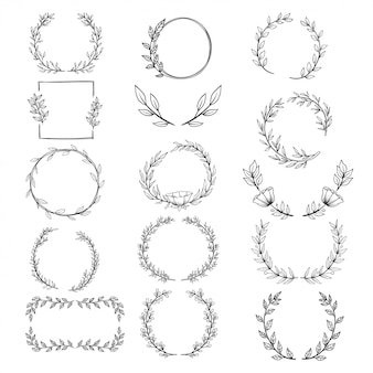 Collection d'éléments décoratifs circulaires dessinés à la main pour invitation de mariage