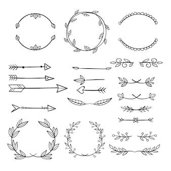 Collection d'éléments décoratifs dessinés à la main