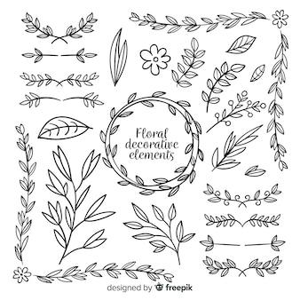 Collection d'éléments décoratifs floraux dessinés à la main