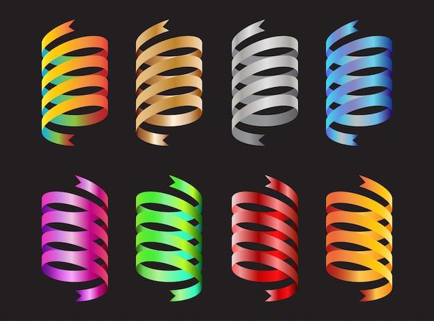 Collection d'éléments décoratifs en ruban coloré en spirale
