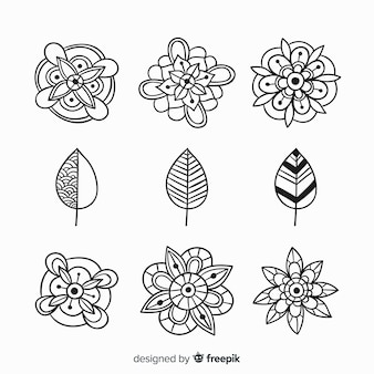 Collection d'éléments de décoration florale dessinés à la main