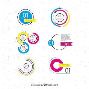 Collection d'éléments de design graphique dans le style plat