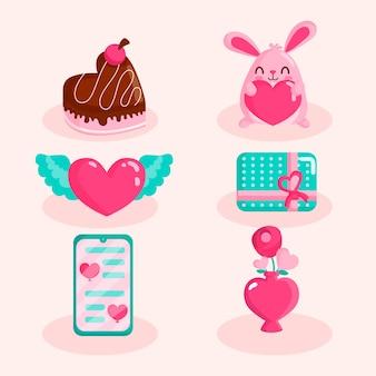 Collection d'éléments de design plat saint valentin