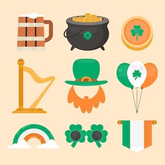 Collection d'éléments de design plat st patricks day