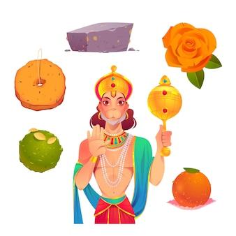 Collection d'éléments de dessin animé hanuman jayanti