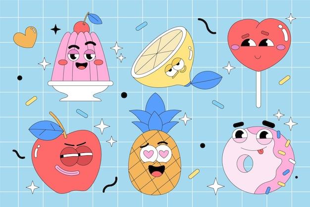 Collection d'éléments de dessin animé à la mode dessinés à la main