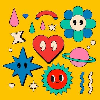 Collection d'éléments de dessin animé plat à la mode dessiné à la main
