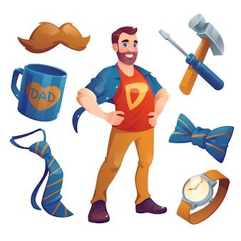 Collection d'éléments de dessin animé pour la fête des pères