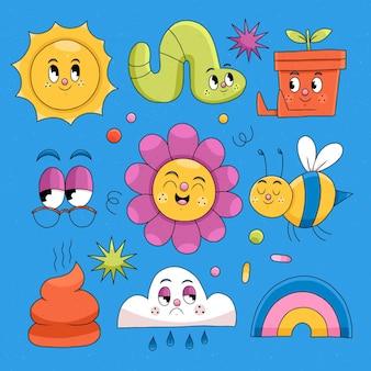 Collection d'éléments de dessin animé tendance design plat dessinés à la main