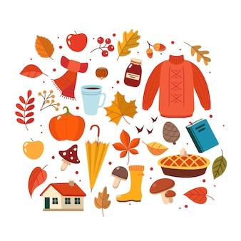 Collection d'éléments dessinés à la main automne.