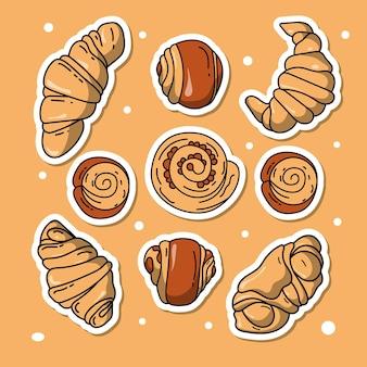 Collection d'éléments dessinés à la main pour la boulangerie