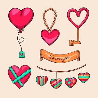 Collection d'éléments dessinés à la main pour la saint-valentin
