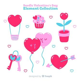Collection d'éléments dessinés à la main valentine