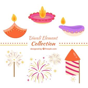 Collection d'éléments diwali