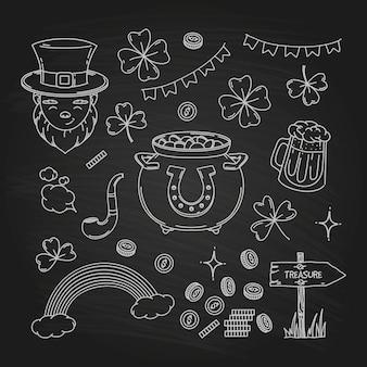 Collection d'éléments de doodle de la saint-patrick