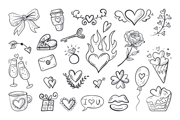 Collection d'éléments doodle saint valentin