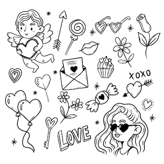 Collection d'éléments doodle saint valentin