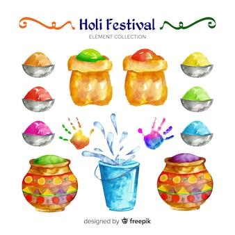 Collection d'éléments du festival holi aquarelle