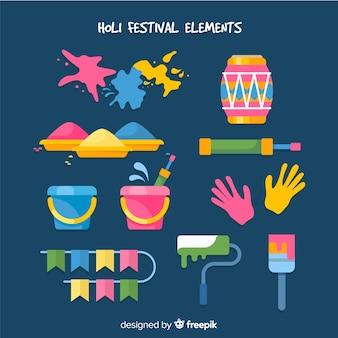 Collection d'éléments du festival holi plat