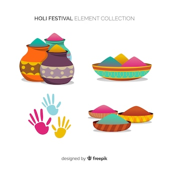 Collection d'éléments du festival holi plat