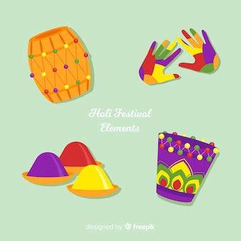 Collection d'éléments du festival holi