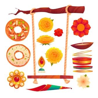 Collection d'éléments du festival teej plat