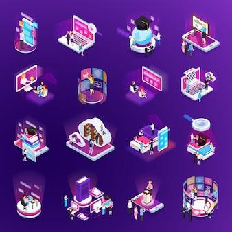 Collection d'éléments d'éducation en ligne isométrique