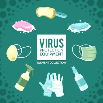 Collection d'éléments d'équipement de protection contre les virus