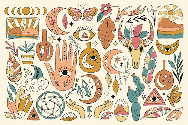 Collection d'éléments ésotériques dessinés à la main