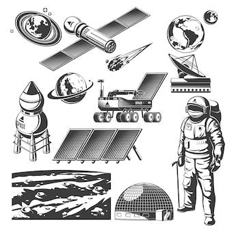 Collection d'éléments de l'espace vintage