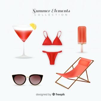 Collection d'éléments estivaux réalistes