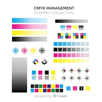 Collection d'éléments d'étalonnage cmyk