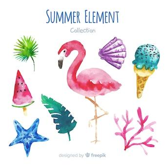 Collection d'éléments d'été aquarelle