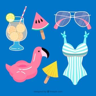 Collection d'éléments d'été dans un style plat