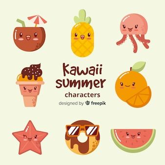 Collection d'éléments d'été kawaii plat