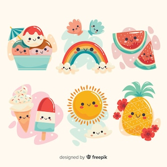 Collection d'éléments d'été kawaii