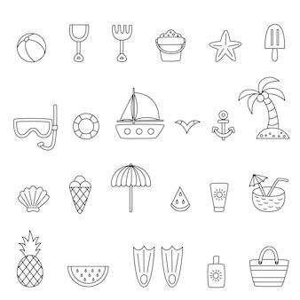 Collection d'éléments d'été en noir et blanc. pages de coloriages.
