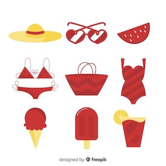 Collection d'éléments d'été plat