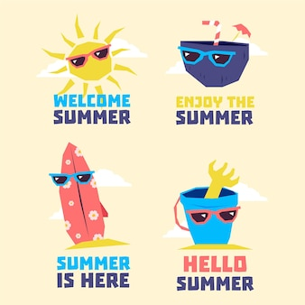 Collection d'éléments d'été portant des lunettes de soleil