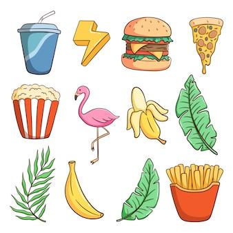 Collection d'éléments d'été avec un style doodle coloré