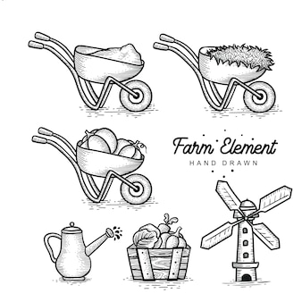 Collection d'éléments de la ferme dessinés à la main